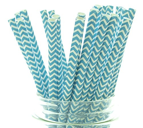 Aqua Blue Chevron Zigzag Straws - 25 - Teal Straws, Turquoise Party Paper Straws, Aqua Blue Chevron Straws -