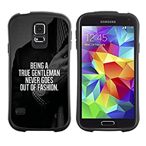 Suave TPU Caso Carcasa de Caucho Funda para Samsung Galaxy S5 SM-G900 / gentleman fashion suit text smart advice / STRONG
