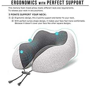 MLVOC Travel Pillow 100% Pure Memory Foam Neck Pillow, Comfortable & Breathable Cover, Machine Washable, Airplane Travel…