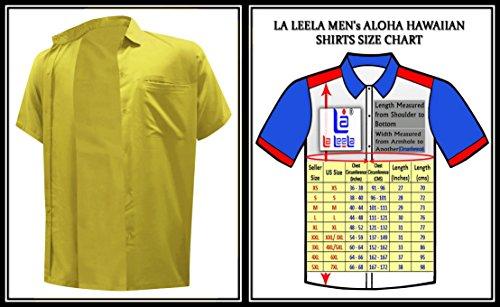 La Hawaiien Hawaïennes Décontractée Rayonne Loose w874 Leela Manches Moutarde Hommes Shirt Aloha Courtes Des Coupe dCWrBexo