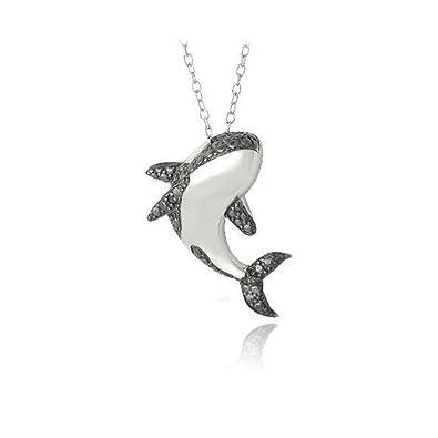 Amazon sterling silver black simulated diamond accent jumping sterling silver black simulated diamond accent jumping killer whale necklace 18 aloadofball Choice Image