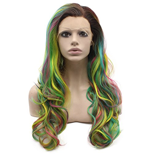 Long Wavy Hand Tied Swiss Lace Front Dark Root Colorful Ombre Wig (Celebrity Front Lace Wigs)
