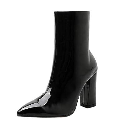 LuckyGirls Botas Muslo de Caña Alta para Mujer Charol Slim Zapatos de Tacón Botitas Botines 9cm