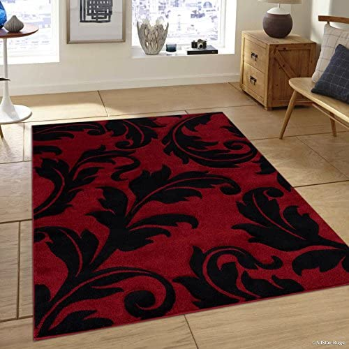 Allstar 8×11 Red Modern and Contemporary Hand Carved Rectangular Accent Rug with Black Leaf Silhouette Design 7 1 x 10 5