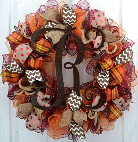 Fall Burlap Thanksgiving Autumn Monogram Door Wreath   Brown Maroon Red Orange Yellow : F2 (Initial S Burlap Picture)