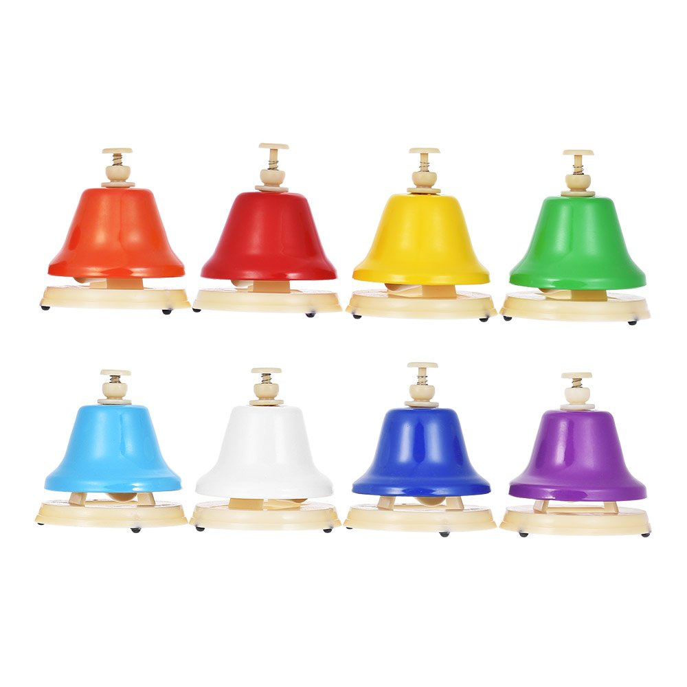 ammoon 8 Note Hand Bell Set Early Musical Educational Instrument Toy for Children Kids Student