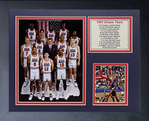 1992 USA BASKETBALL DREAM TEAM MICHAEL JORDAN LARRY BIRD MAGIC 8X10 PHOTO FRAMED