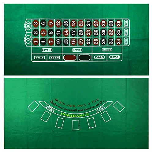 YH Poker Roulette and Blackjack 2-Sided Casino Table Felt Layout by YH Poker