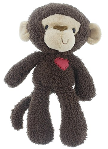 Gund Valentine's Day Fuzzy Plush Monkey with Heart, Brown, Beige, Red, Medium, 13.5