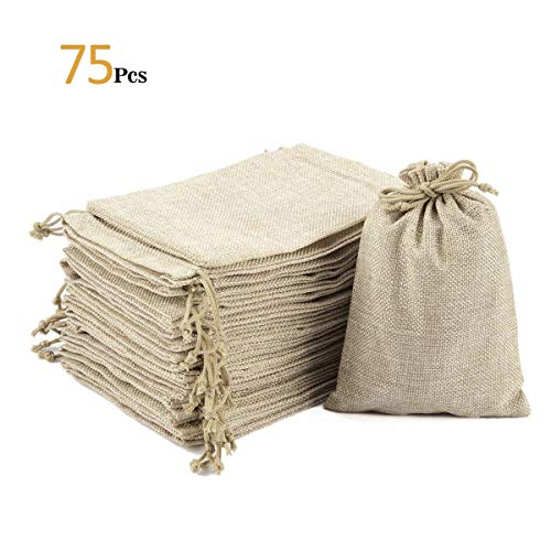 ANPHSIN 75 Pieces Small Burlap Bags with Drawstring, 5.43x3.74 inch Burlap Gift Bag Jewelry Mini Pouches for Wedding Favors, Party, DIY Craft and Christmas -