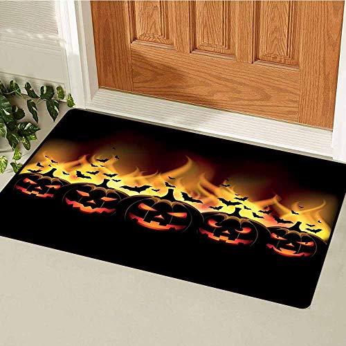 (GloriaJohnson Vintage Halloween Universal Door mat Happy Halloween Image with Jack o Lanterns on Fire with Bats Holiday Door mat Floor Decoration W29.5 x L39.4 Inch Black)