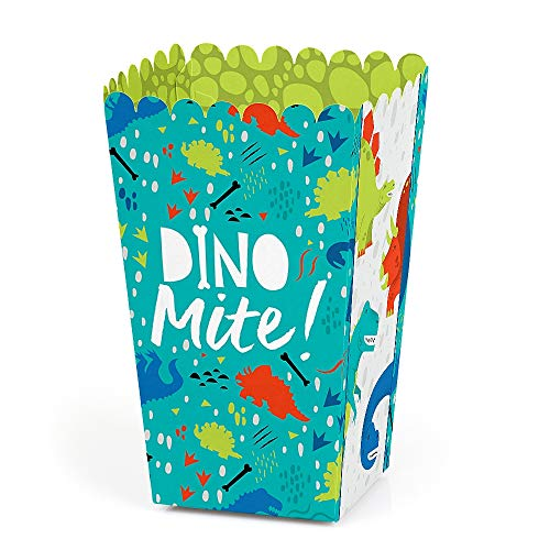 Roar Dinosaur - Dino Mite T-Rex Baby Shower or Birthday Party Favor Popcorn Treat Boxes - Set of 12