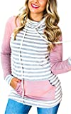 ECOWISH Womens Cowl Neck Stitching Striped Pullover Hoodies Drawstring Long Sleeve Pocket Casual Sweatshirts,US M,Pink