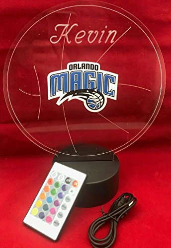 Orlando Beautiful Handmade Acrylic Personalized Magic NBA Basketball Light Up Light Lamp LED Table Lamp Our Newest Feature - It's WOW, With Remote,16 Color Options, Dimmer, Free Engraved, Great - Light Magic Orlando