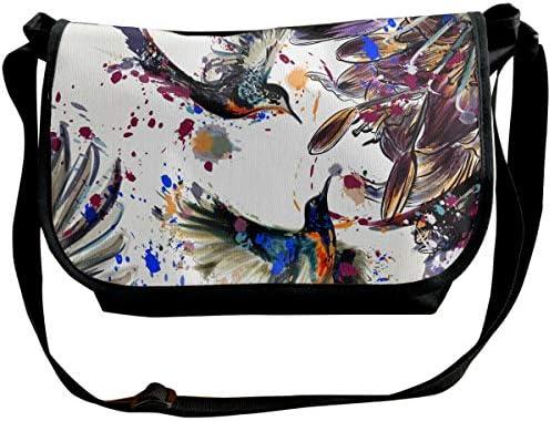 メッセンジャーバッグ ショルダーバッグ ユリの花の鳥と色のしぶきアート 斜めがけ ワンショルダー バック カバン キャンバス 大容量 超軽量 学校 旅行 メンズ レディース 正規品