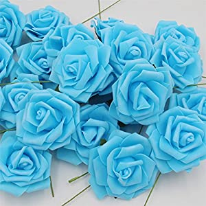 Noex Direct 30 PCS Artificial Flowr Rose Real Touch Artificial Roses for DIY Bouquets Wedding Party Baby Shower Home Decor - Blue 2