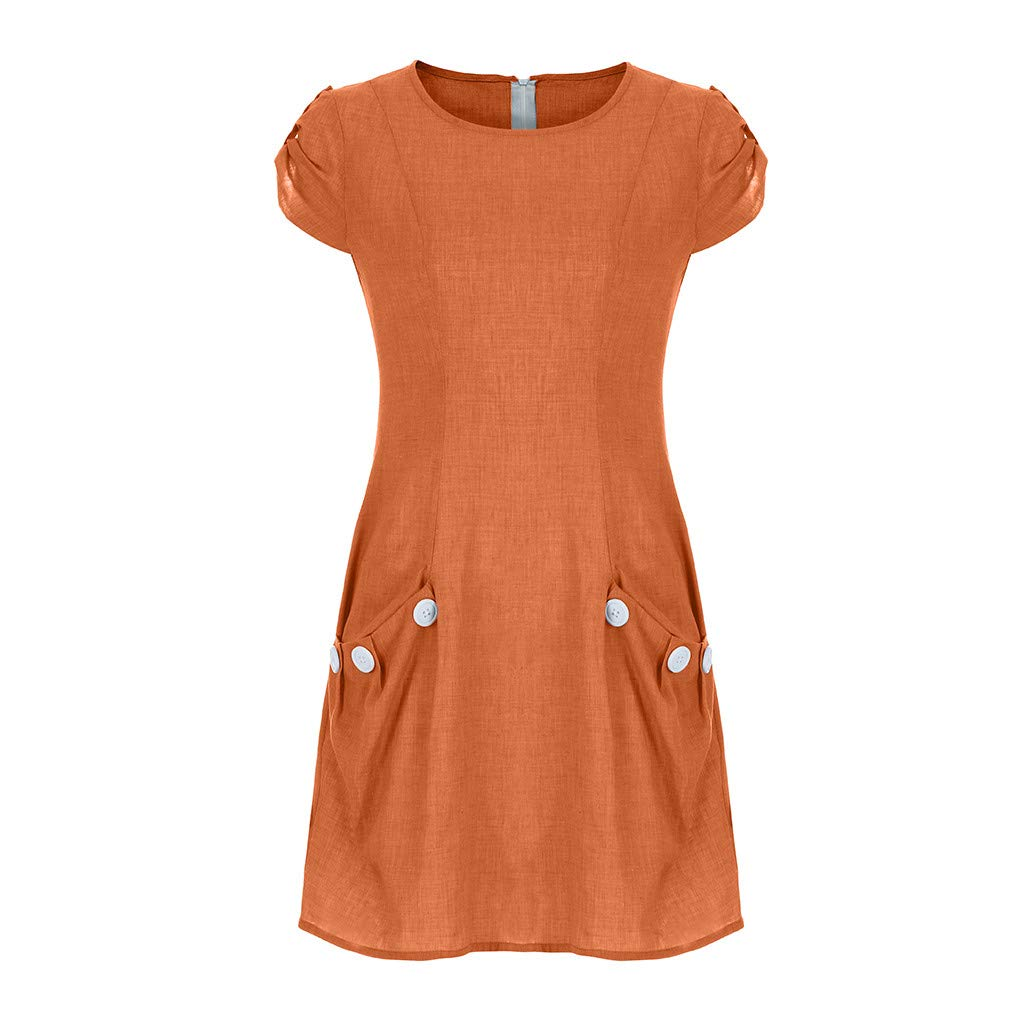 Women O-Collar Cotton Dress | hopwin Lady Casual Solid Color Ruffled Button Pocket Short Sleeve Sundress (XXL, Orange)