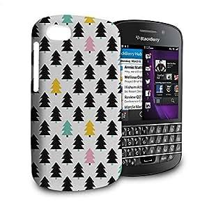Phone Case For Blackberry Q10 - Pine Trees Geometric Pastel Glossy Wrap-Around