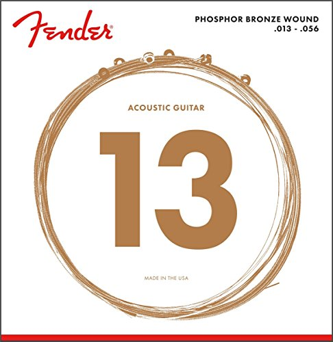 Fender 60L 0730060408 Acoustic Guitar Phosphor Bronze Ball End Strings, 13-56