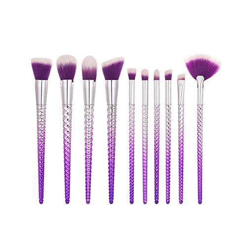 LUXSEA 10pcs Makeup Brushes Set Tools Powder Foundation Eye Lip Concealer Face colorful Brush Kits (Copper Foundation Powder)