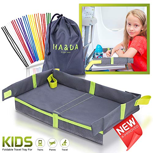 Foldable Kids Travel Tray for Airplane Travel Activities and Games, Use on Plane/Train Tray Table, Toddlers and Children, Unisex - Compact Light Portable - W/Fun Chenille Pipe Cleaners for DIY (Toys To Take On Airplane For Toddler)