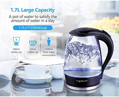 Aigostar Adam 30GOM - Bouilloire électrique en cristal avec illumination LED, capacité de 1,7 litres, puissance de 2200W, sans BPA et système de protection contre l'ébullition à sec. Design exclusif.