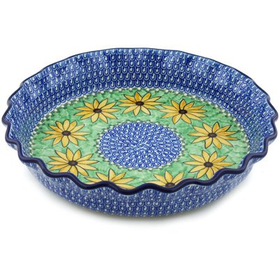 Polish Pottery 10-inch Fluted Pie Dish made by Ceramika Artystyczna (Summer Suzies Theme) Signature UNIKAT + Certificate of Authenticity