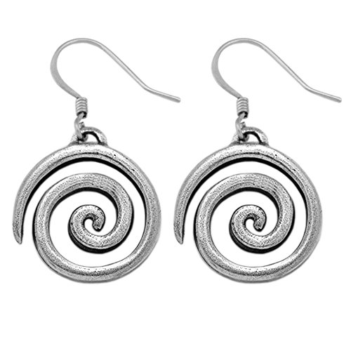 (DANFORTH - Spiral Earrings - 3/4 Inch - Pewter - Handcrafted - Surgical Steel Wires - Made in USA)