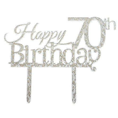Glitter Silver Acrylic Happy 70th Birthday Cake Topper, 70 Birthday Party Cupcake Topper Decoration (70, Silver)