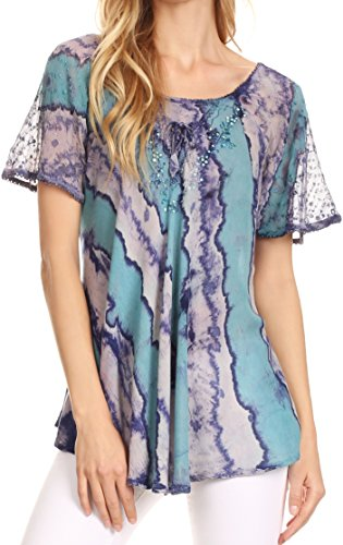 Sakkas 17789 - Valencia Tie Dye Sheer Cap Sleeve Embellished Drawstring Scoop Neck Top - 6-Turq/Purple - OSP