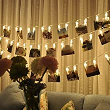Photo Clips String Lights,Battery Operated Fairy Lights,Waterproof Warm White String Lights for Hanging Pictures Photos Cards,Notes, Artwork,Christmas Xmas,Birthday,Party,Home,Garden Wedding Decoration