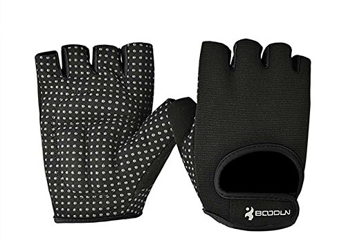 BOODUN Womens Mens Weight Lifting Gloves for Fitness Exercise, Gym Training, Black, Large