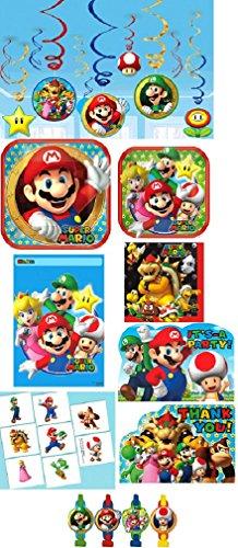 Amscan Super Mario Paper Party Bundle of Plates, Napkins, Decorations and Favors