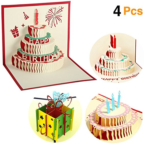 O'Hill 4 Pcs 3D Pop Up Birthday Cards Laser Cut Happy Birthday Greeting Cards with Bookmark (Birthday Suggestions)
