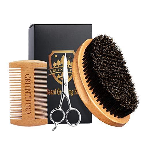 Beard Brush & Comb Set for Men – 100% Boar Bristle Curve Beard Brush & Wooden Grooming Comb & Mustache Scissors Packed in Premium Gift Box – Beard Grooming Kit for All Sizes & Beards Style