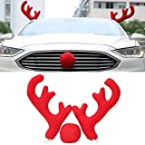 COGEEK Christmas Reindeer Antlers Red Nose Set For Car Ornament Truck Accessory