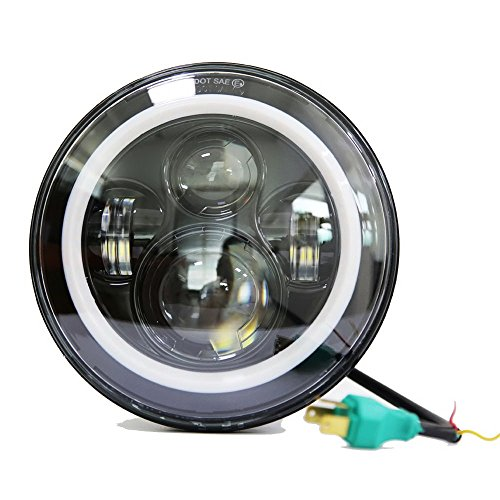 7 Inch Round LED Headlights Halo Angle Eyes Projection Lens for Jeep 1997-2016 Wrangler JK LJ TJ Harley Davidson Black