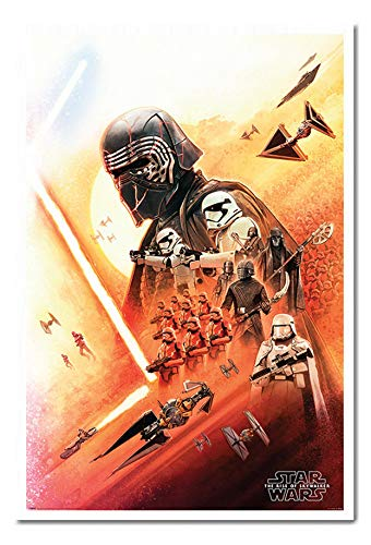 Star Wars The Rise of Skywalker Kylo Ren Poster Magnetic Notice Board White Framed - 96.5 x 66 cms (Approx 38 x 26 inches)