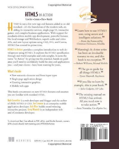 HTML5 in Action: Amazon.es: Rob Crowther, Joe Lennon, Ash Blue, Greg Wanish: Libros en idiomas extranjeros