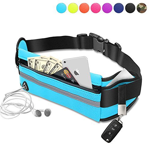 Running Belt Waist Pack - Water Resistant Runners Belt Fanny Pack for Hiking Fitness – Adjustable Running Pouch fit Hiking Running Cycling Camping Climbing Travel phone protection - Blue