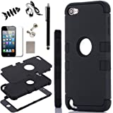 iPod Touch 5 Case, - SQdeal 6in1 Pack 3 Layer Hard and Soft Hybrid Armor Defender Sports Combo Case for Apple iPod Touch 5 iTouch 5th Generation, with Screen Protector, Touch Pen, Earphone, Fish winder and Dust Plug (Black)