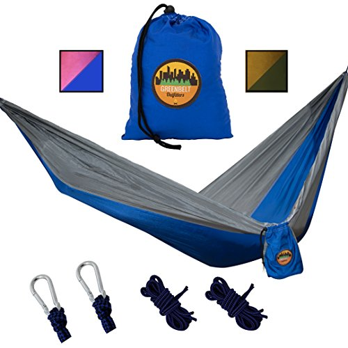 Greenbelt Camping Hammock | Lifetime No Tear Promise | All in One Super-Lightweight Parachute Nylon w/ Carabiners | Outdoor & Indoor Hammocks | Best for Backpacking, Beach, Travel, Hiking, Campus
