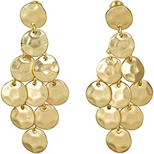 Heirloom Finds Luminous Matte Gold Tone Hammered Disc Chandelier Earrings