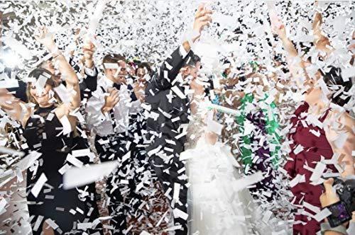 Battife White Confetti Wands 7Pack Paper Confetti Flick Sticks 100% Biodegradable Tissue Confetti Flutter for Wedding Celebrations Anniversary Birthday Party White, 14 Inch]()