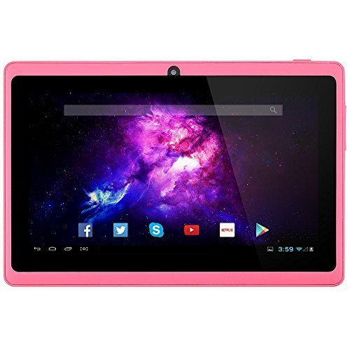 Alldaymall 7'' Tablet Android 4.4 Quad Core HD 1024x600, Dual Camera Bluetooth Wi-Fi, 8GB 3D Game Supported - Pink(Third generation) …
