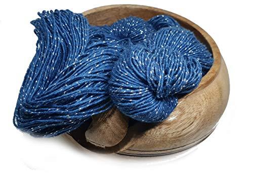 KNITSILK Sparkle Silk Yarn: Silk Shimmer Sparkle & Shine Yarn Iridescent Sparkle Yarn - 50 GR Pure Mulberry Silk Yarn - Knit, Crochet, Weave, Baby Yarns (Navy Blue)