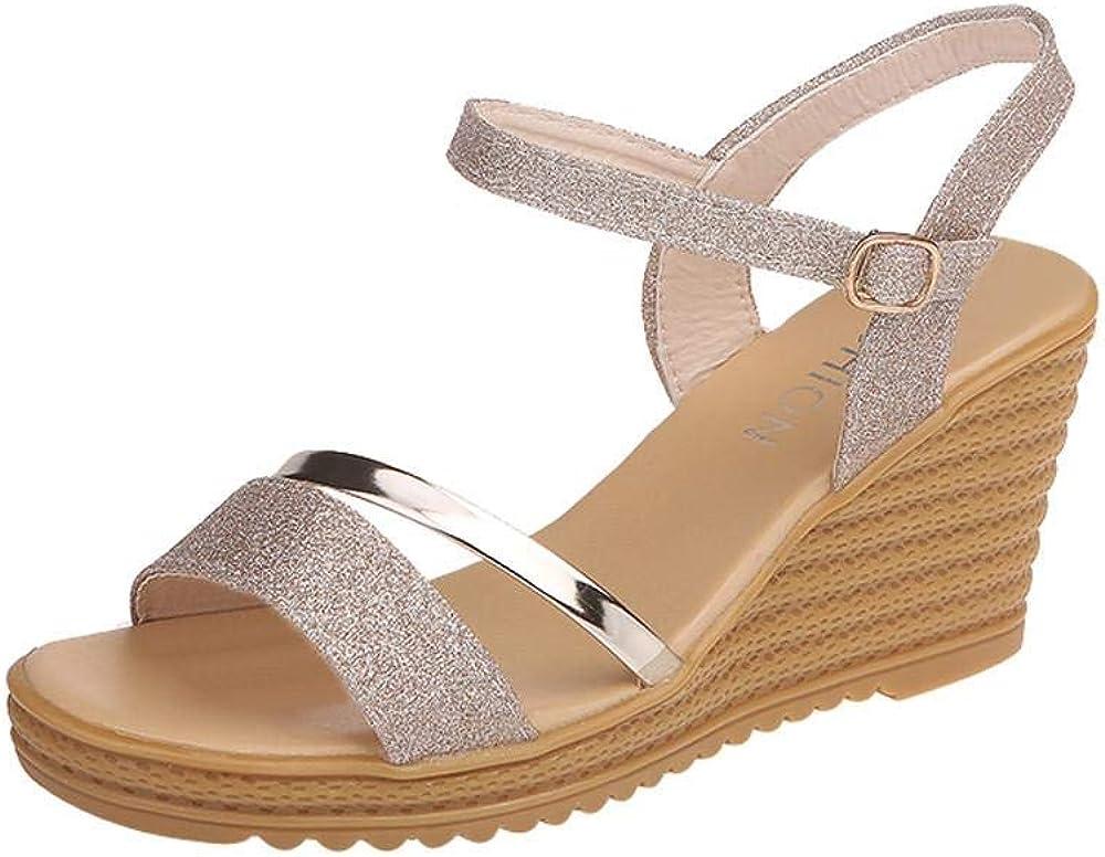Sunenjoy Chaussures Sandales Compens/é Femmes /Ét/é Talons Hauts Plate-Forme Semelle Matelass/ée Bout Ouvert Antid/érapant Boucle Paillettes 2019 Mode Romaines
