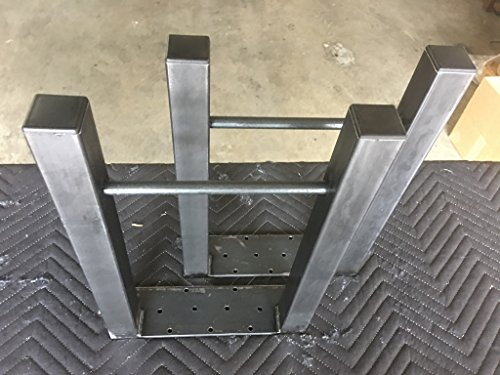 34'' Tall X 14'' Wide H Design Industrial Table/Bench Legs, 1 1/2'' Square Tubing with 1/2'' Solid Steel Bar Across Lower Leg, Set of 2 by Diymetallegs.com (Image #1)
