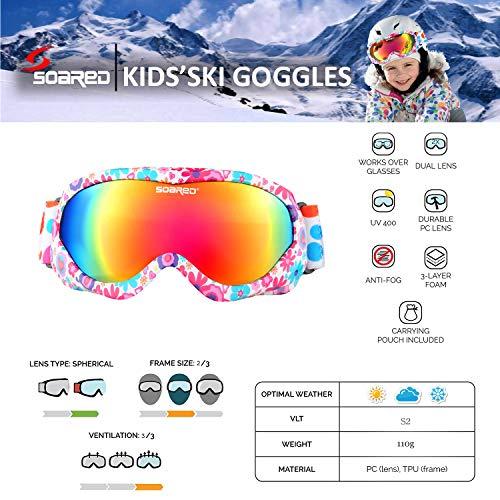 61e891897b0 Soared Kids Ski Goggles Winter Snow Snowboard Glasses Dual Lens UV  Protection Anti Fog OTG Skating