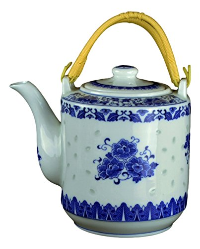 (Large Teapot Blue and White Porcelain 64 OZ)
